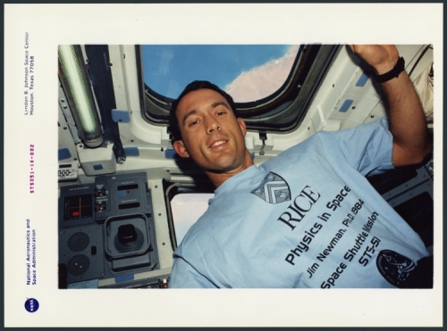 Astronaut Jim Newman in space, 1993
