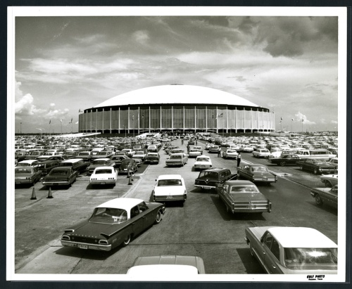 Astrodome exterior view with cars, 1970