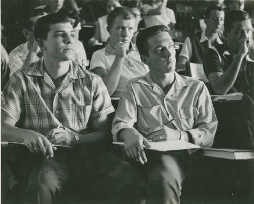 Male students in class taking notes, ca. 1956