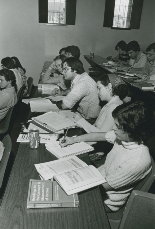 Students in class in Sewall Hall, 1970s