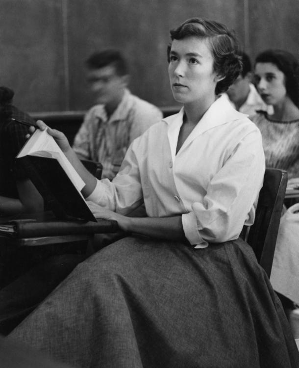 Ann Farmer in class, 1957