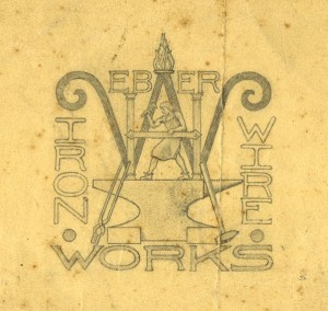 Drawing of logo for Weber Iron & Wire Works