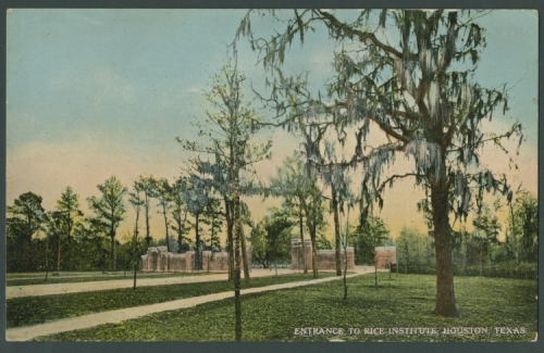 Main entrance gates, Rice Institute, as seen from interior of campus, 1912