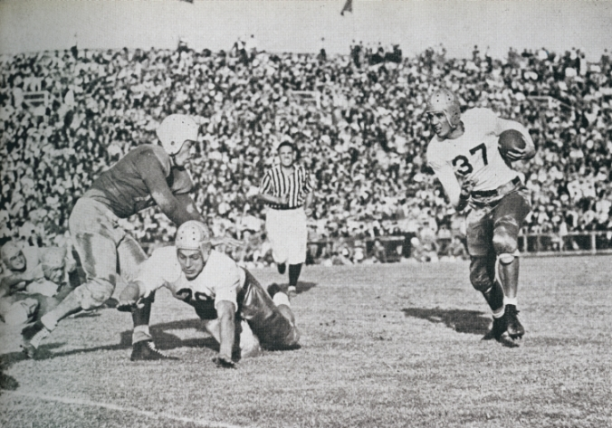 Rice Institute football game against University of Texas action shot, 1939