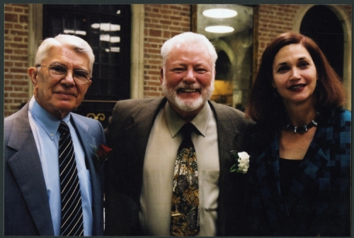 Dr. Milton Boniuk with Malcolm Gillis and Carol Quillen at announcement of Boniuk Institute, 2004