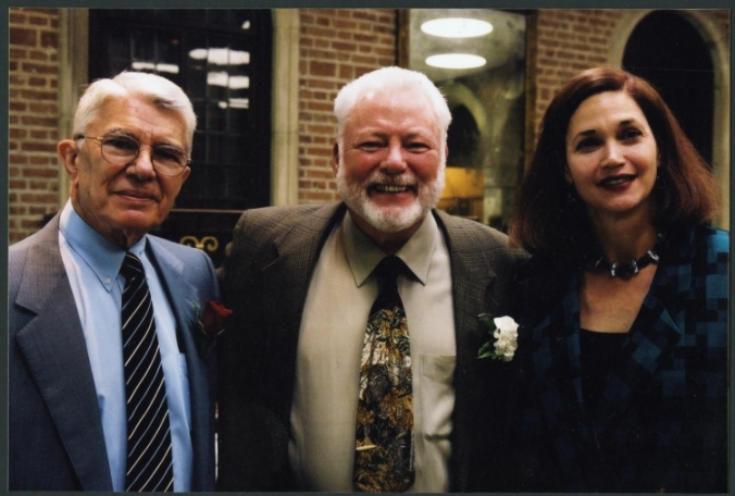 Dr. Milton Boniuk with Malcolm Gillis and Carol Quillen at announcement of Boniuk Institute, 2004