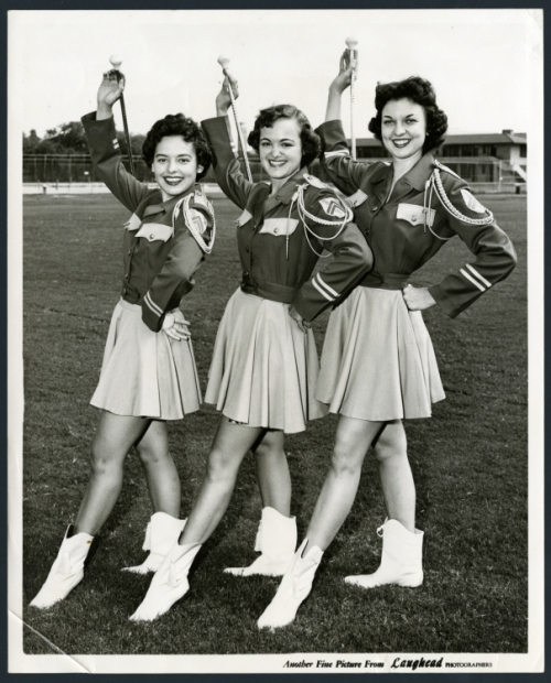Rice Band drum majorettes, 1954