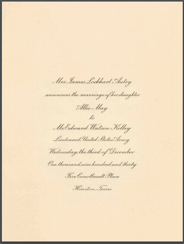 Wedding invitation for Allie May Autry and Edward Watson Kelley, December 3, 1930