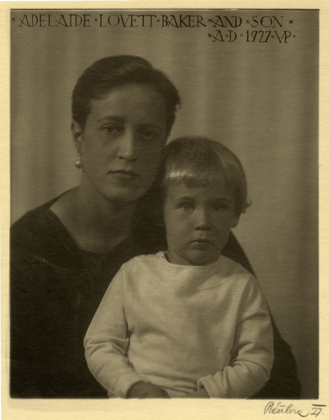 Black and white photograph of Adelaide Lovett Baker and son, 1927