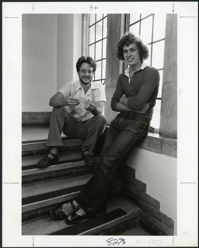 Randall Furlong with friend on steps, 1979