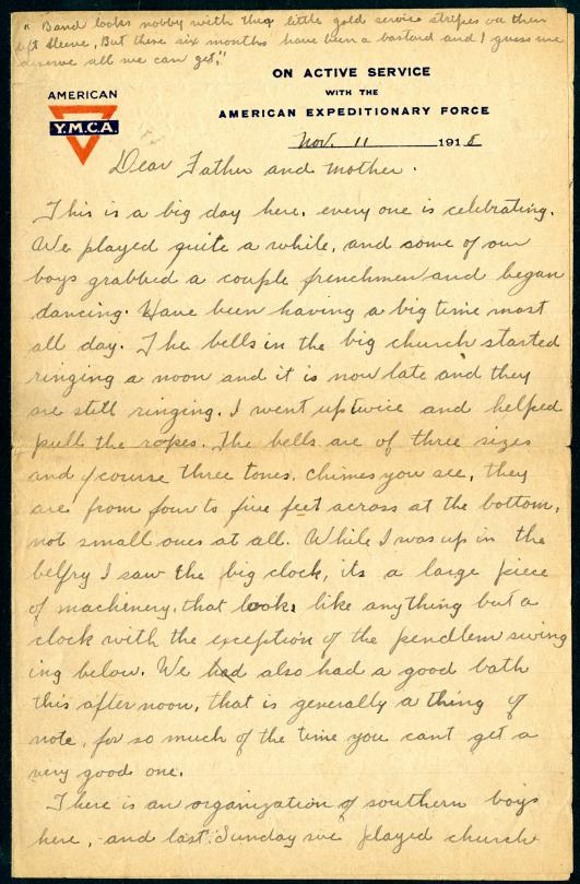 Hendrickson Armistice day letter