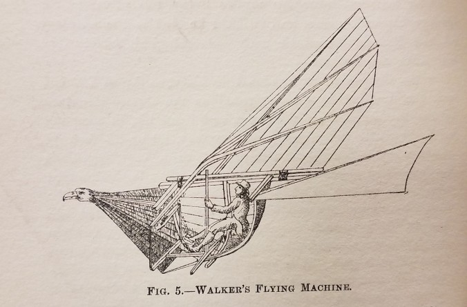 Caption reads: Walker's Flying Machine. Illustration of man in birdish flying contraption.