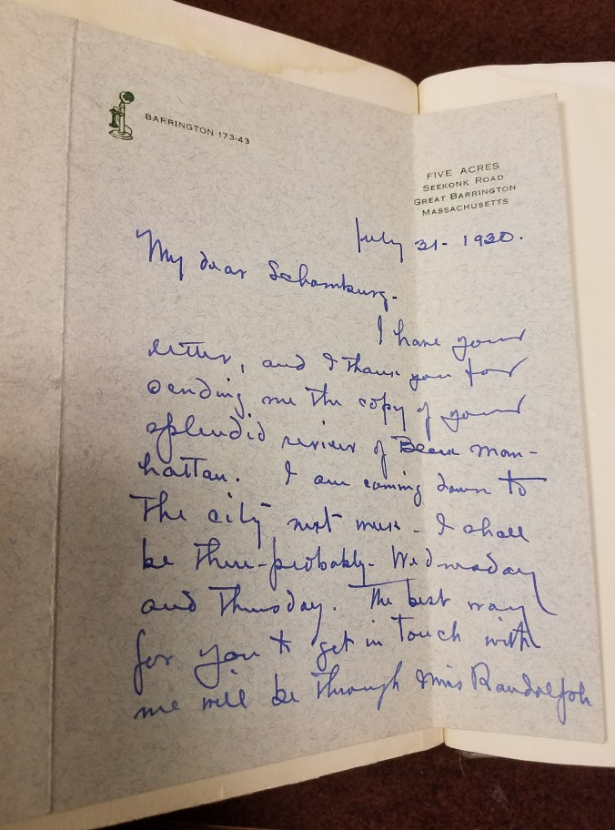 """Letter reads: """"I have your letter, and I thank you for sending me the copy of your splendid review of Black Manhattan. I am coming down to the city next week. I shall be there - probably - Wednesday and Thursday. The best way for you to get in touch with me will be through Miss [?] Randolph"""""""