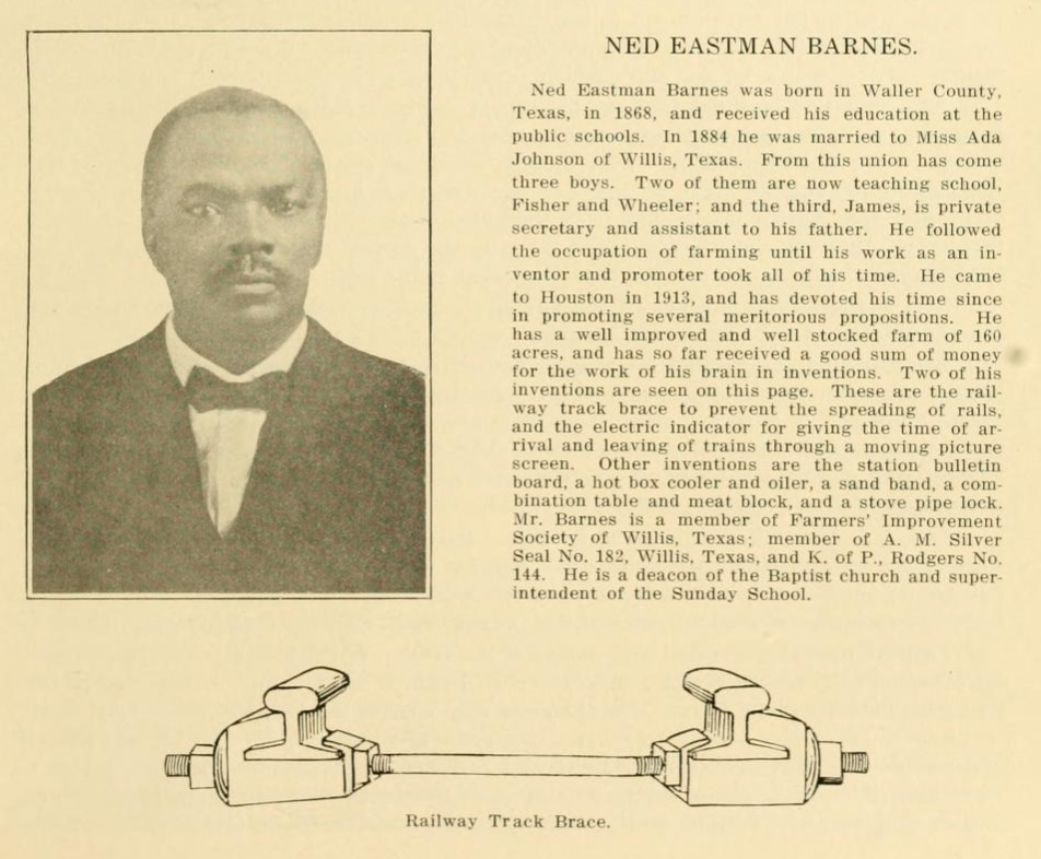 Images of Ned Eastman Barnes, drawing of railway track brace, biography of Barnes.