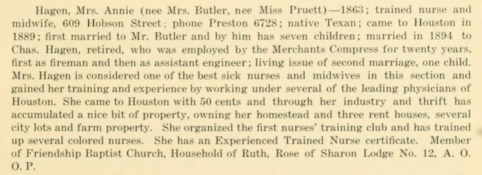 Text describing the lift of Mrs. Annie Hagen