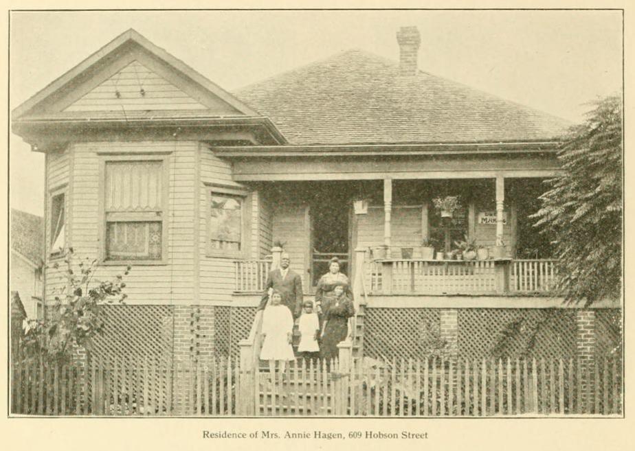 "Caption reads: ""Residence of Mrs. Annie Hagen, 609 Hobston Street"""
