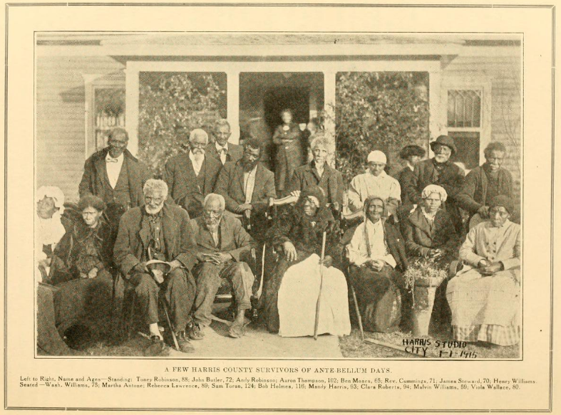 """Caption reads: """"A Few Harris County Survivors of Ante-Bellum Days. Left to right, Name and ages--Standing: Toney Robinson, 88; John Butler, 72; Andy Robinson; Aaron Thompson, 102; Ben Moses, 65; Rev. Cummings, 71; James Steward, 70; Henry Williams. Seated Wash. Williams, 75; Martha Antone; Rebecca Lawrence, 89; Sam Toran, 124; Ben Holmes, 116; Mandy Harris, 93; Clara Roberts, 94; Malvin Williams, 59; Viola Wallace, 80."""""""
