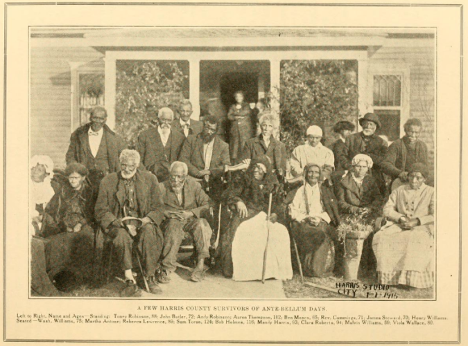 "Caption reads: ""A Few Harris County Survivors of Ante-Bellum Days. Left to right, Name and ages--Standing: Toney Robinson, 88; John Butler, 72; Andy Robinson; Aaron Thompson, 102; Ben Moses, 65; Rev. Cummings, 71; James Steward, 70; Henry Williams. Seated Wash. Williams, 75; Martha Antone; Rebecca Lawrence, 89; Sam Toran, 124; Ben Holmes, 116; Mandy Harris, 93; Clara Roberts, 94; Malvin Williams, 59; Viola Wallace, 80."""