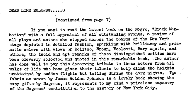 Screenshot of Schomburg's review of Black Manhattan, part 2
