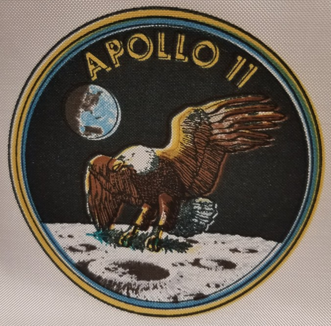 Close-up of Apollo 11 silkscreened emblem