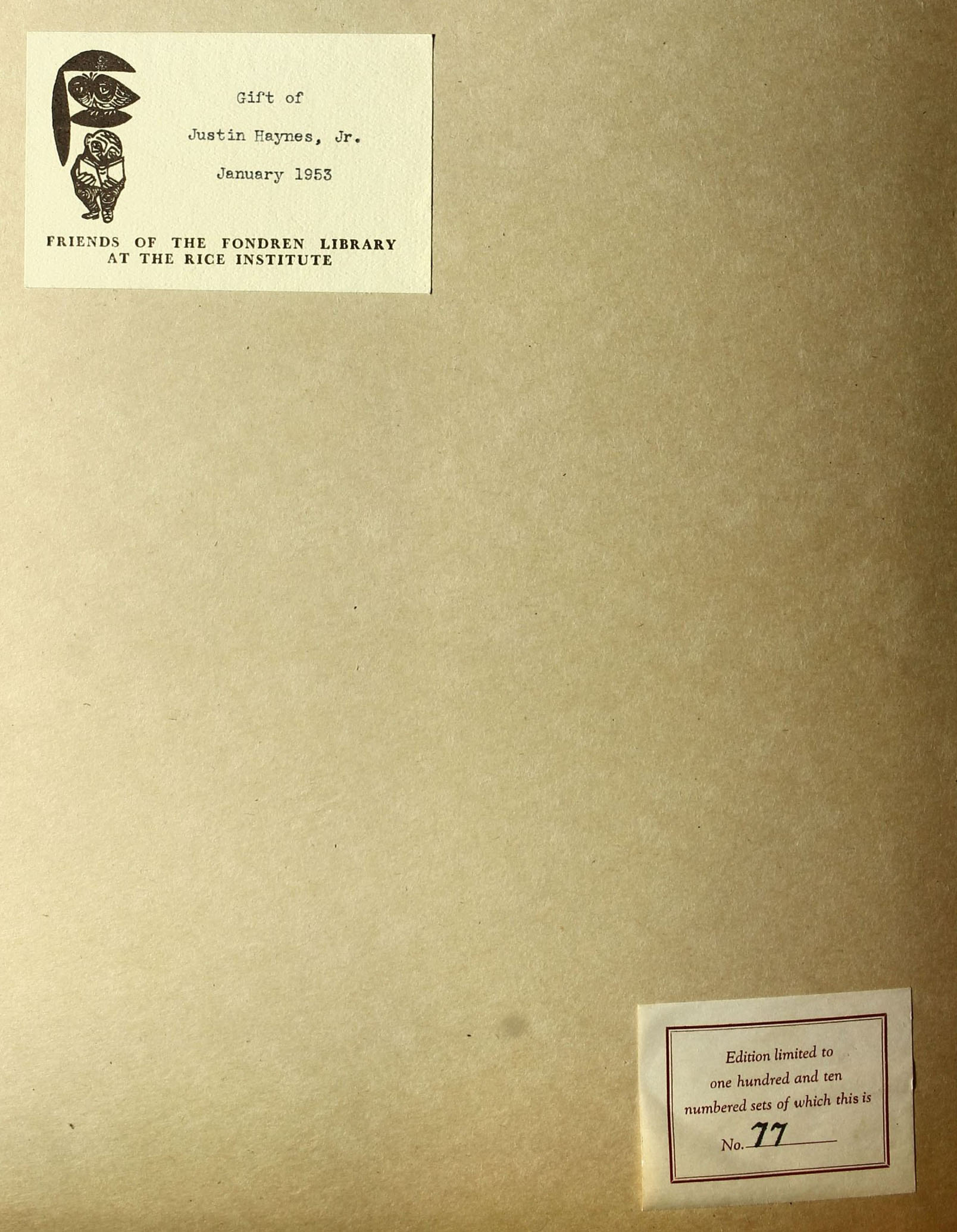 Book donated in January of 1953. It is number 77 of 110.
