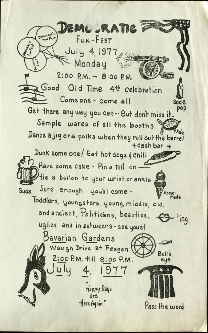 Paper flier from the Democratic Fun Fest, explaining activities, from July 4, 1977