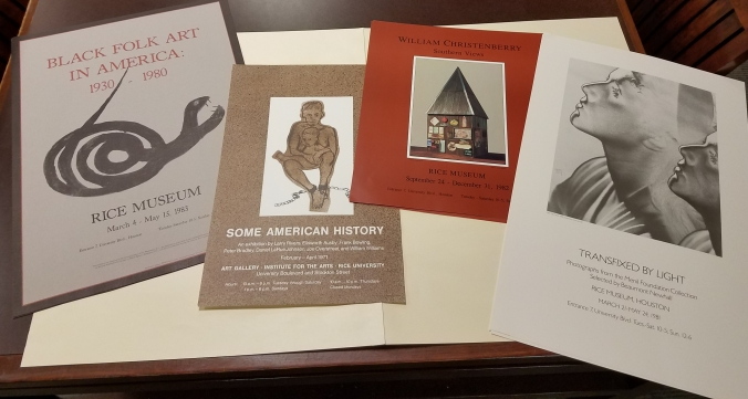 "4 posters for art exhibits: ""Black Folk Art in America"" ""Some American History"" ""William Christenberry: Southern Views"" ""Transfixed by Light"""