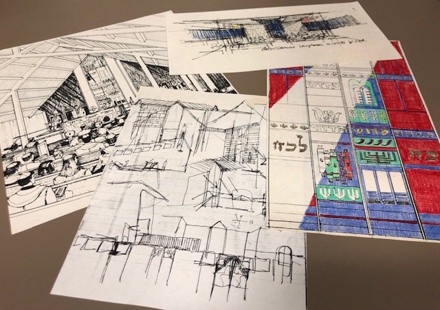 4 drawings - Morton Levy's architectural drawings of Congregation Brith Shalom