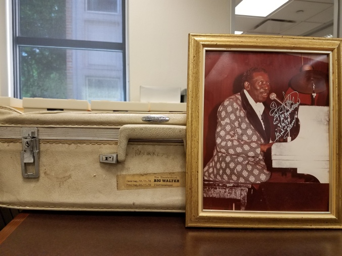 "Big Walter ""The Thunderbird"" Price's suitcase and autographed photo."