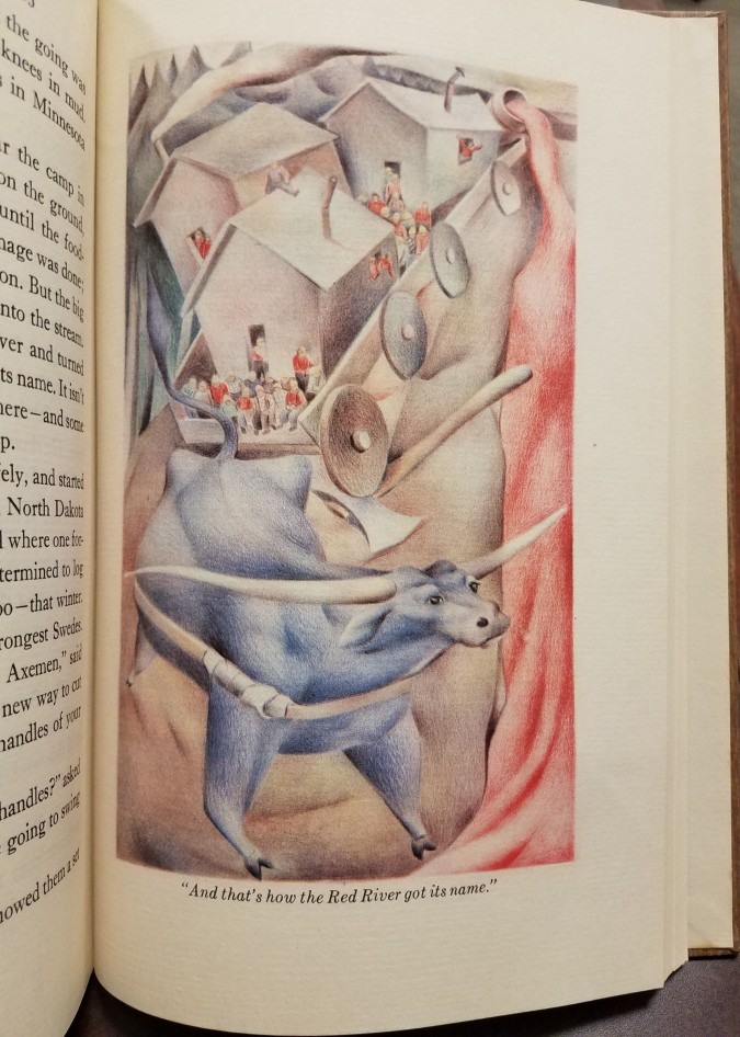 """Illustration of Babe the Blue Ox making the Red River. Text reads: """"And that's show the Red River got its name."""""""