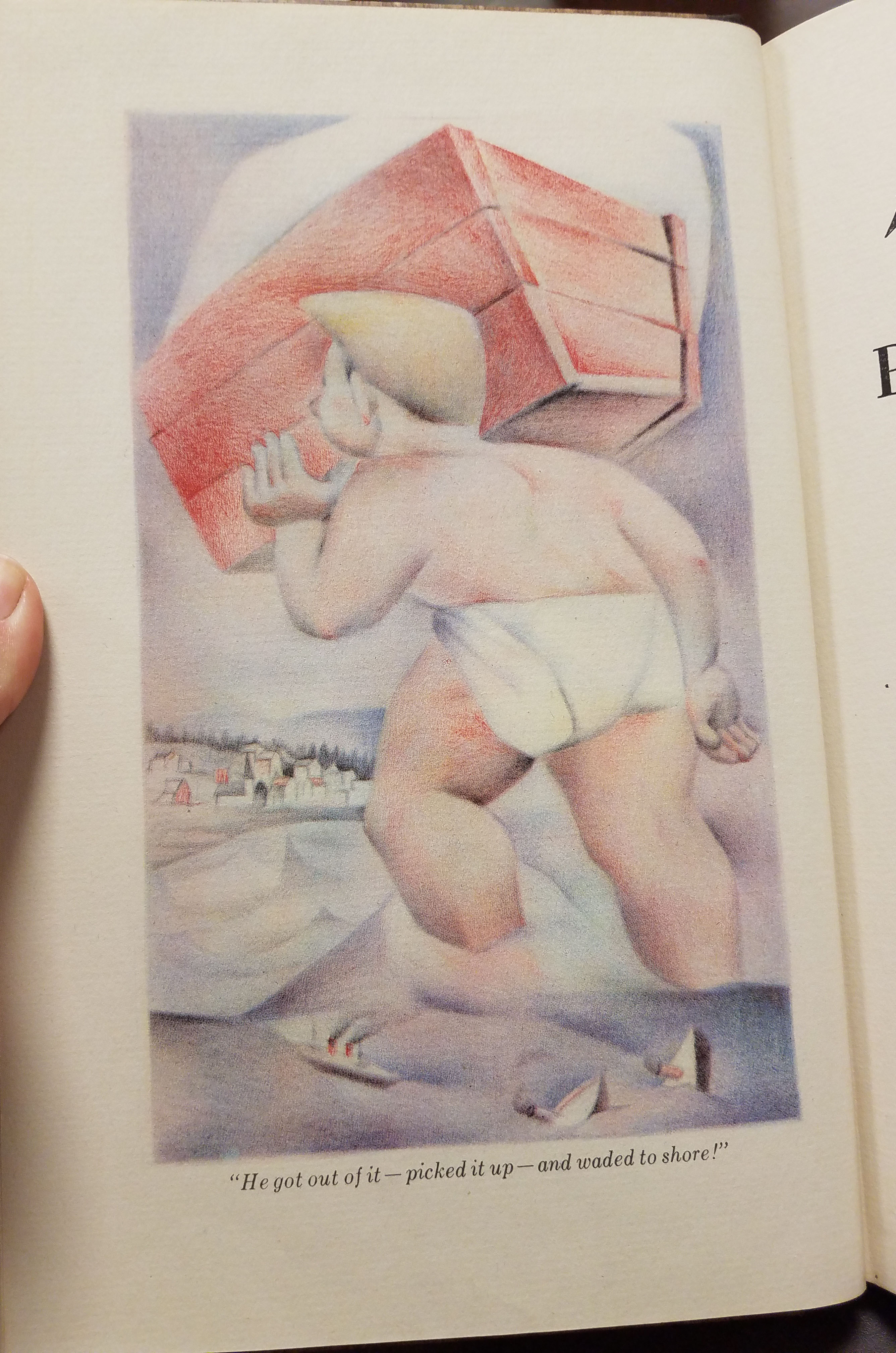 """Illustration of baby Paul Bunyan. Text: """"He got out of it-picked it up-and waded to shore!"""""""