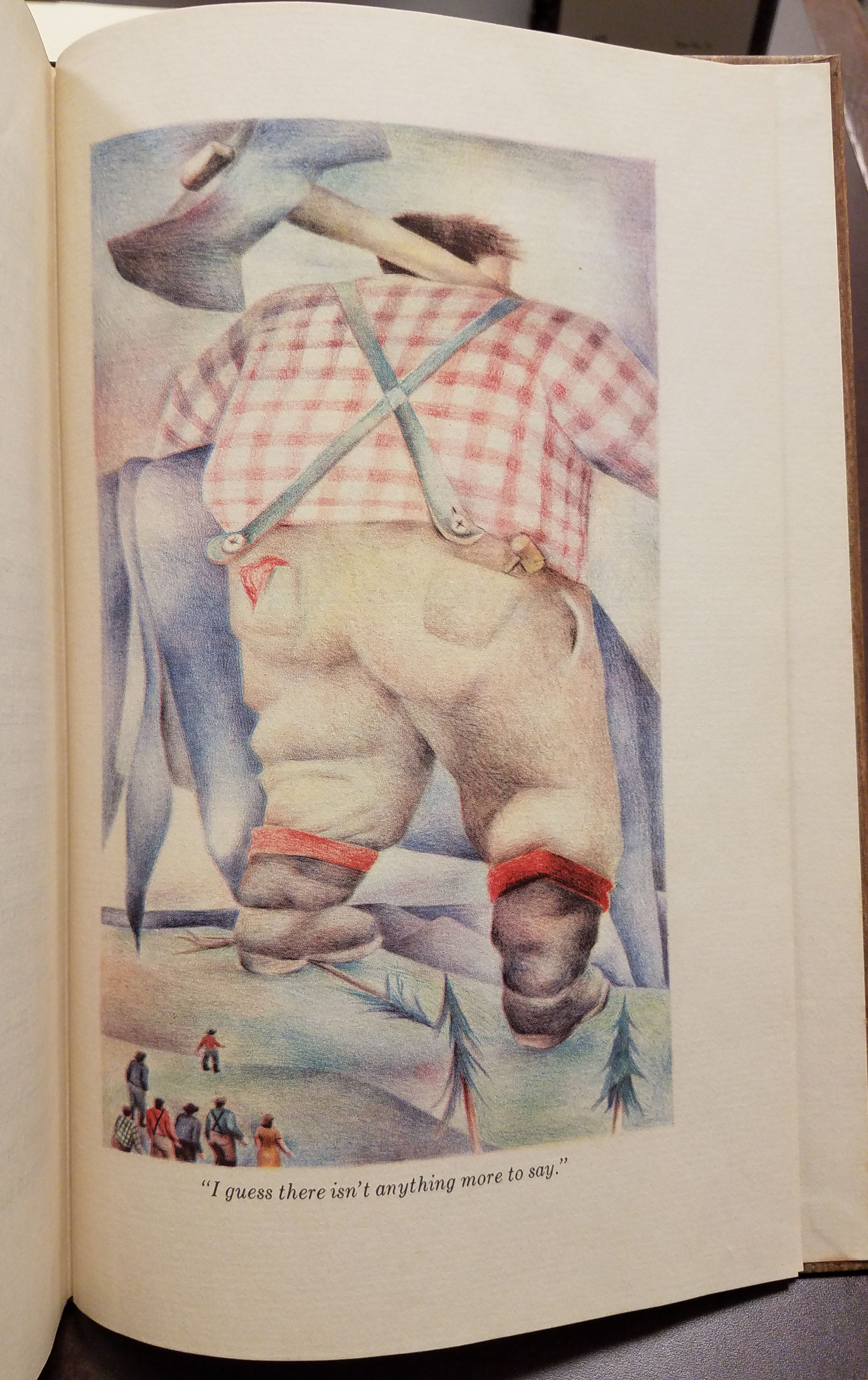 """Paul Bunyan and Babe the Blue Ox leaving. Text reads: """"I guess there isn't anything more to say."""""""