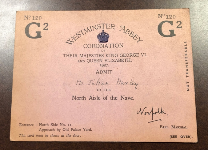 Invitation / Ticket to the Coronation of King George VI and Queen Elizabeth in 1937.