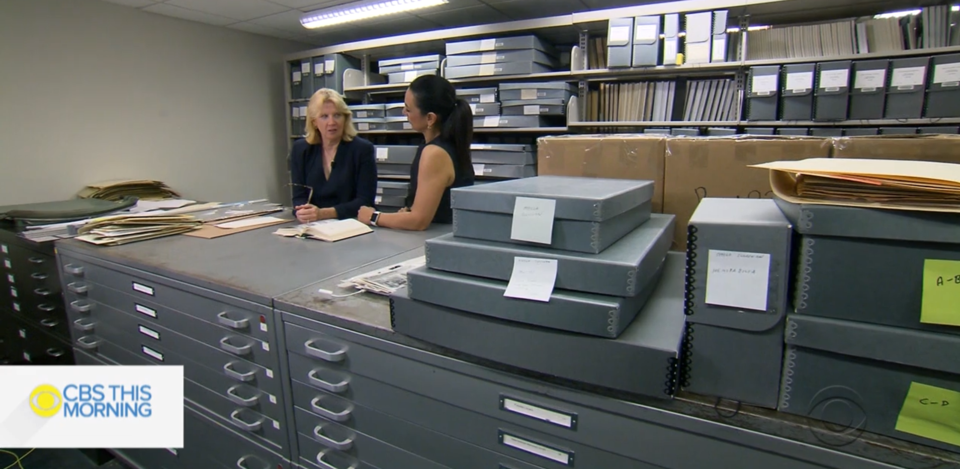 Melissa Kean and Michelle Miller in the in the stacks of the Woodson.