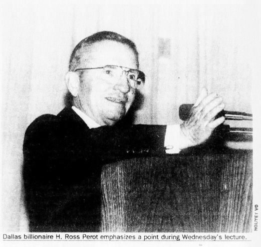 Black and white image from The Rice Thresher of H. Ross Perot speaking at a podium.