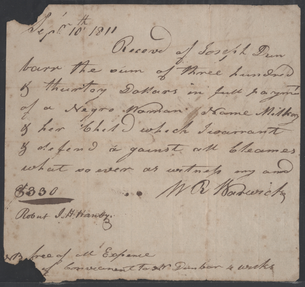 Bill of sale of woman and child from William R. Warwick to Joseph Dunbar