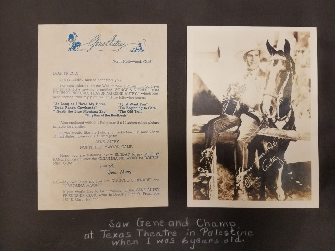 """Letter and autographed picture of Gene Autry. Caption reads: """"Saw Gene and Champ at Texas Theatre in Palestine when I was 6 years old."""""""