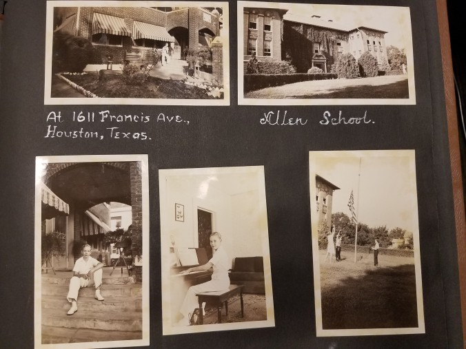 """Photograph of Hill at new home and at Allen School. Captions read: """"At 1611 Francis Ave., Houston, Texas."""" """"Allen School."""""""
