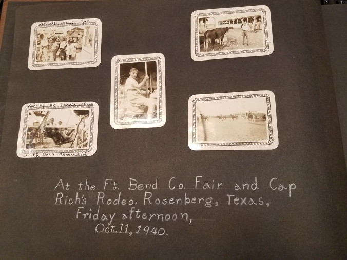 Caption reads: At the Ft. Bend Co. Fair and Cap Rich's Rodeo, Rosenberg, Texas, Friday afternoon, Oct. 11, 1940. Includes 5 images the rodeo with some including Hill.