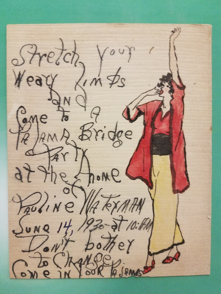 Drawing of woman in 1930s era pj's with text on side.