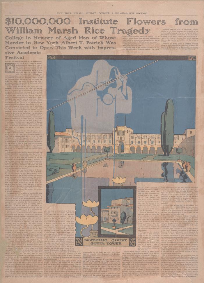 "Headline: ""$10,000,000 Institute Flowers from William Marsh Rice Tragedy"""
