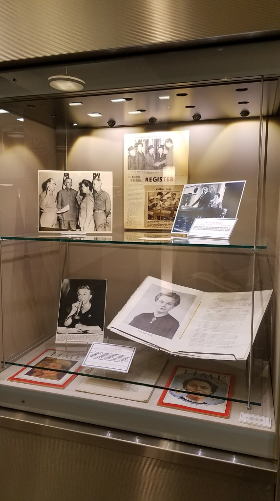 Exhibit case focusing on Oveta Culp Hobby