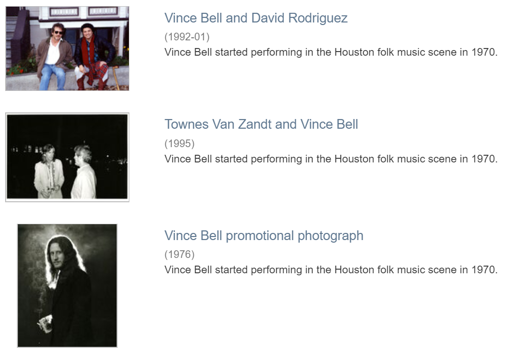 Three photographs of Vince Bell with David Rodriguez, with Townes Van Zandt, and by himself.