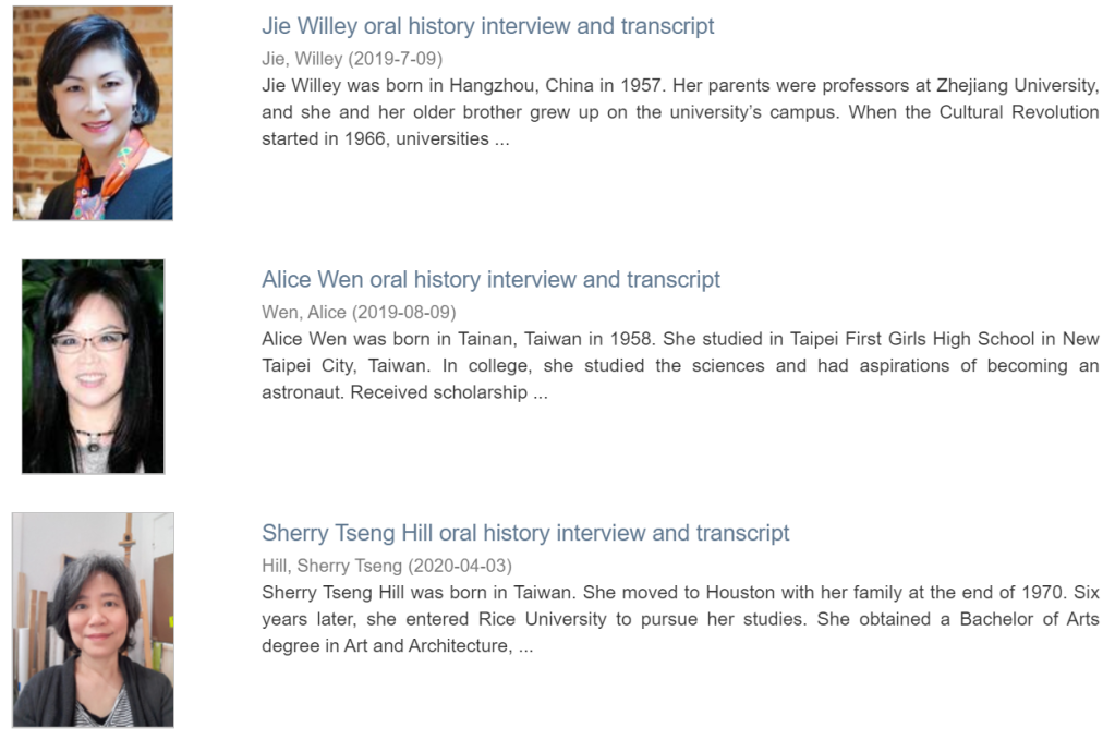 Three examples of oral histories.