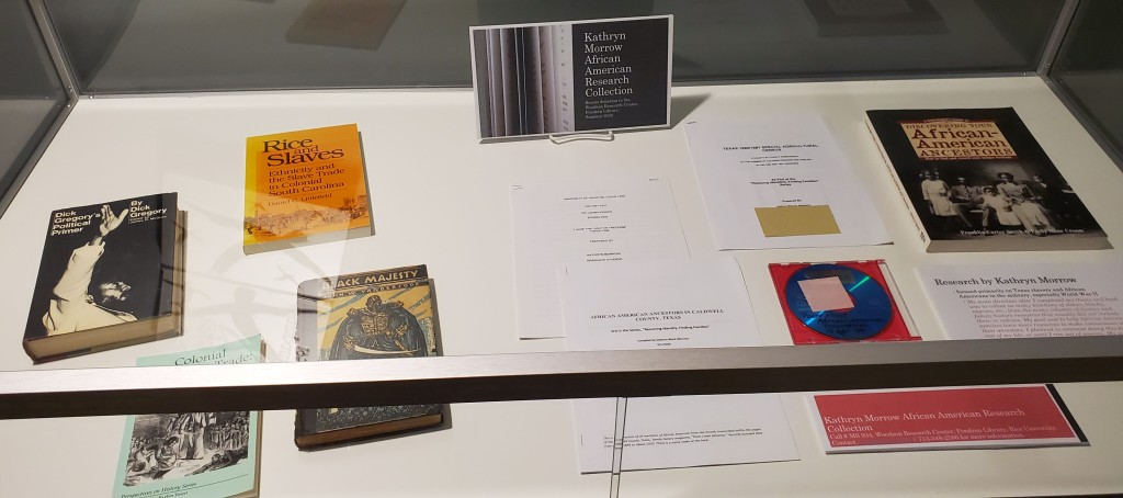 Image of books, documents, and media from the collection