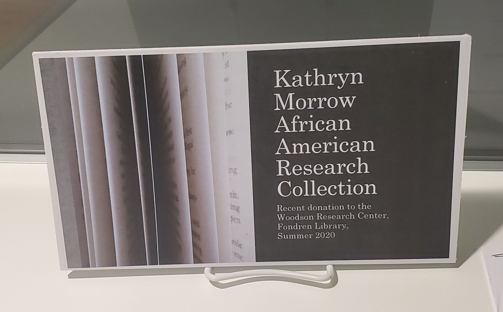 Reads: Kathryn Morrow African American Research Collection - Recent donation to the Woodson Research Center, Fondren Library Summer 2020