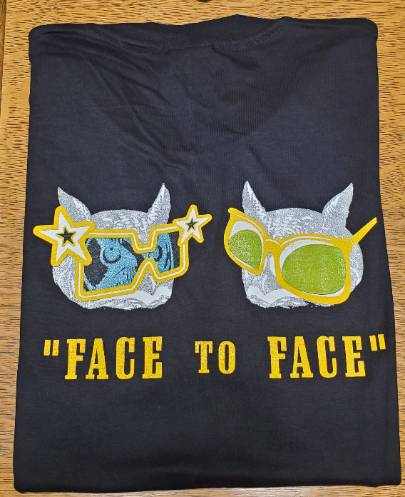 Two owls wearing glasses. Caption reads: Face to Face