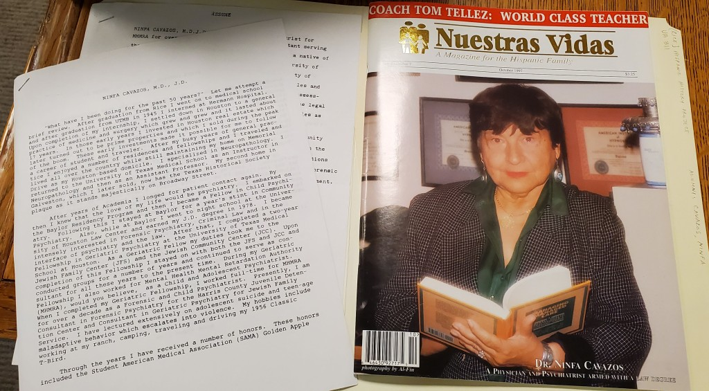 Typed biographical resume and magazine cover