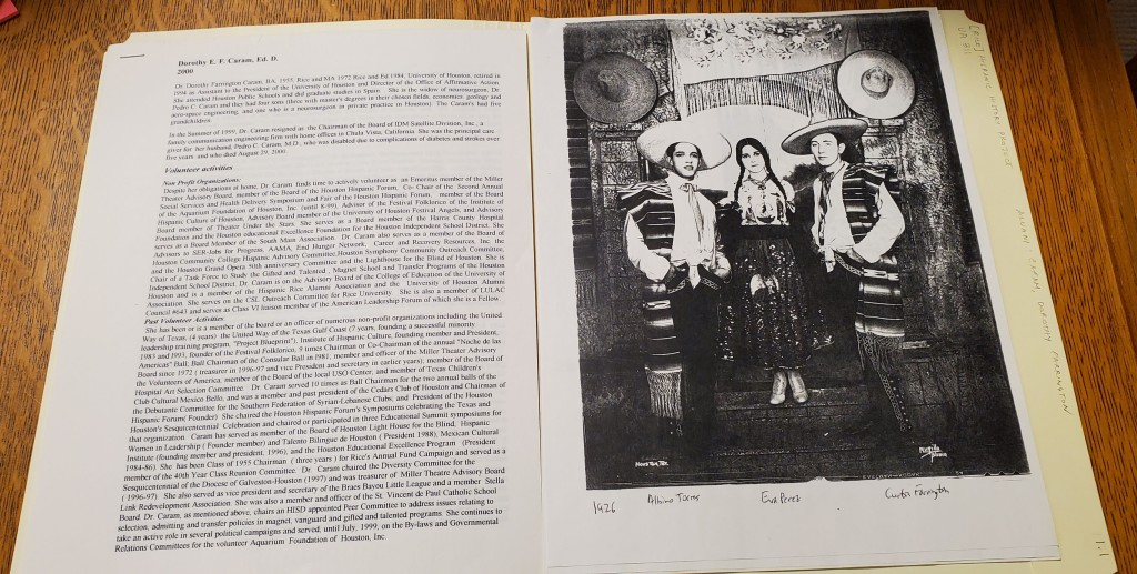 Typed biographical resume and photocopy of image of students in traditional Mexican dress