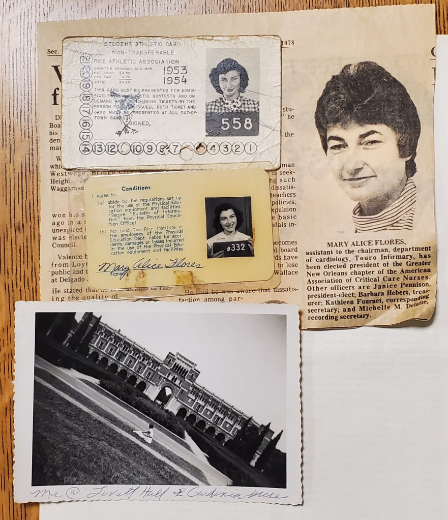IDs, newspaper clipping, and photograph of Flores in front of Lovett Hall